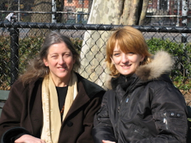 Annie Finch and Amy King in Tompkins Square Park, February 2006